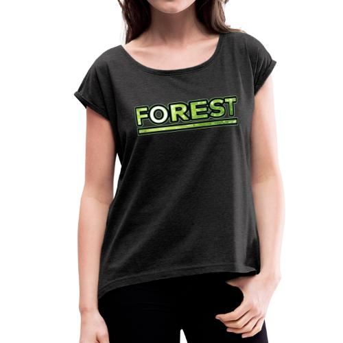 Forest - Double Exposure - Effect - Women's Roll Cuff T-Shirt