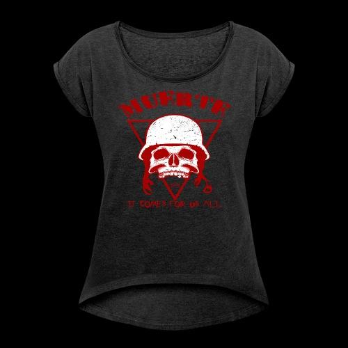 Muerte Skull (red) - Women's Roll Cuff T-Shirt