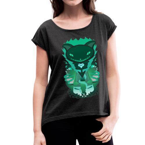 CUTE MONSTER CAT DESIGN SHIRT - Women's Roll Cuff T-Shirt