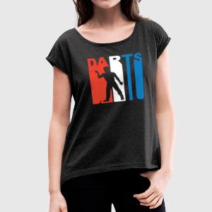Red White And Blue Darts - Women´s Roll Cuff T-Shirt
