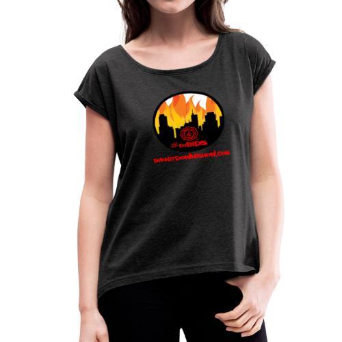OG foBIDS red logo - Women's Roll Cuff T-Shirt