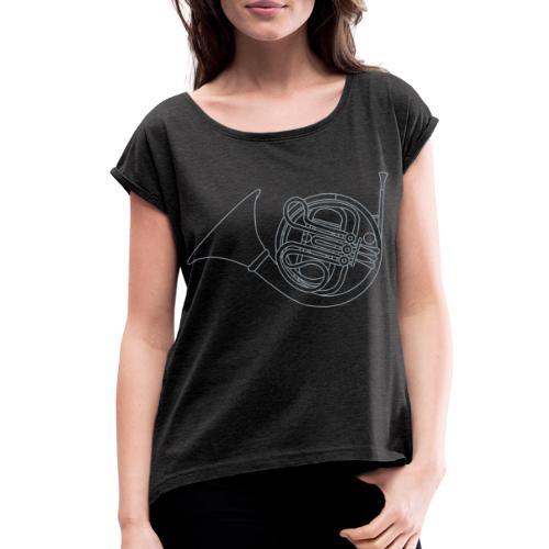 French horn brass - Women's Roll Cuff T-Shirt