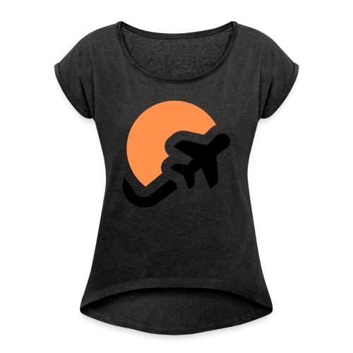 Airplane logo Icons Symbols Gift Shirt - Women's Roll Cuff T-Shirt