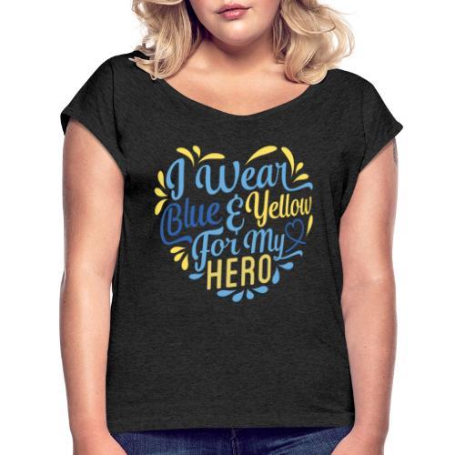 Blue & Yellow - Women's Roll Cuff T-Shirt