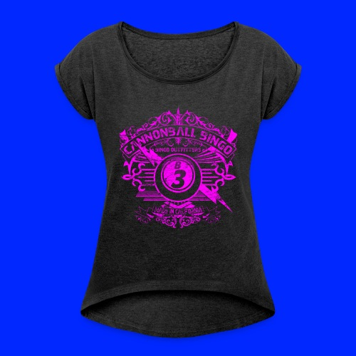 Vintage Cannonball Bingo Crest Pink - Women's Roll Cuff T-Shirt