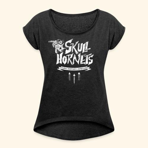 skull hornets - Women's Roll Cuff T-Shirt