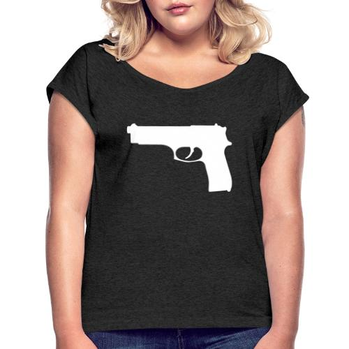Semi-automatic Handgun Silhouette - Women's Roll Cuff T-Shirt