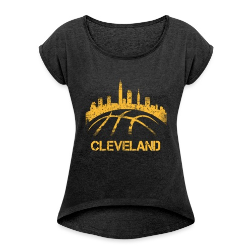 Cleveland Basketball Skyline - Women's Roll Cuff T-Shirt