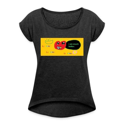 pechy vs apple - Women's Roll Cuff T-Shirt