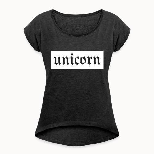 Gothic Unicorn Text White Background - Women's Roll Cuff T-Shirt