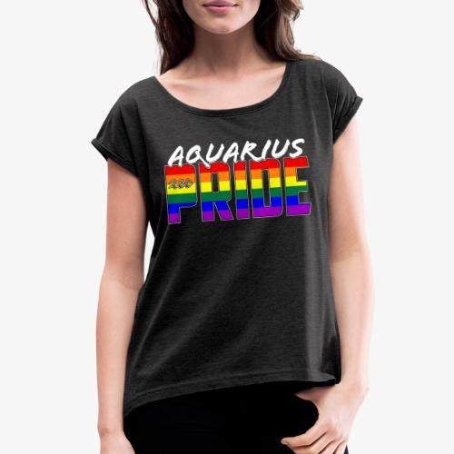 LGBT Aquarius Pride Flag Zodiac Sign - Women's Roll Cuff T-Shirt