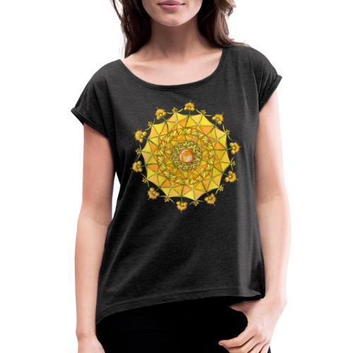 Zentangle Mandala Navel Manipura Chakra - Women's Roll Cuff T-Shirt