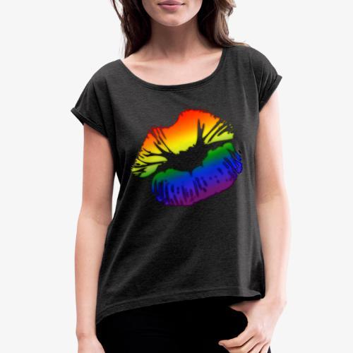 LGBTQ Big Kissing Lips - Women's Roll Cuff T-Shirt