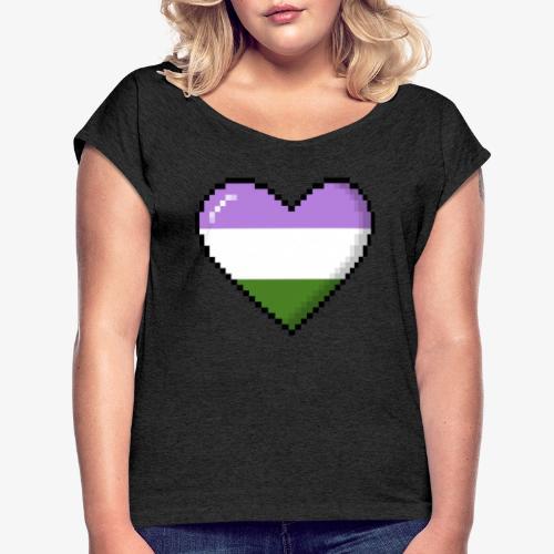 Genderqueer Pride 8Bit Pixel Heart - Women's Roll Cuff T-Shirt
