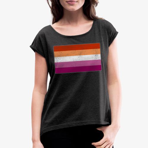 Distressed Lesbian Pride Flag - Women's Roll Cuff T-Shirt