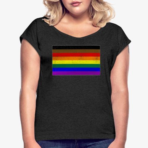 Distressed Philly LGBTQ Gay Pride Flag - Women's Roll Cuff T-Shirt
