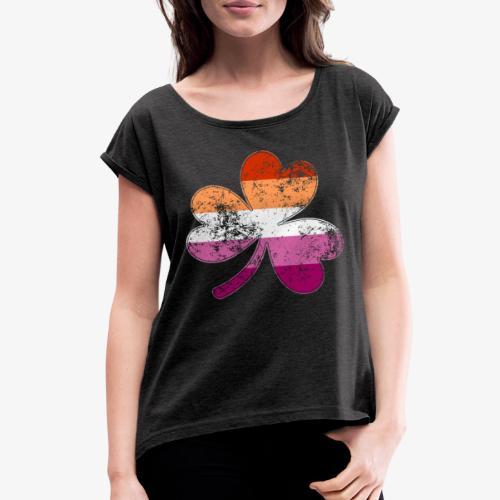 Lesbian Shamrock Pride Flag - Women's Roll Cuff T-Shirt