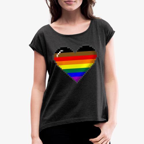 Philly LGBTQ Pride 8Bit Pixel Heart - Women's Roll Cuff T-Shirt