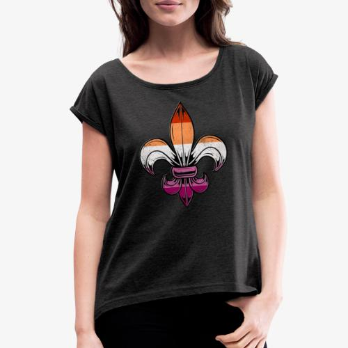 Lesbian Pride Flag Fleur de Lis - Women's Roll Cuff T-Shirt