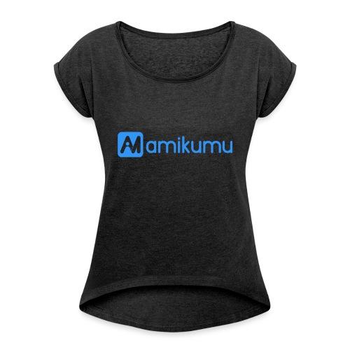 Amikumu Logo Blue - Women's Roll Cuff T-Shirt