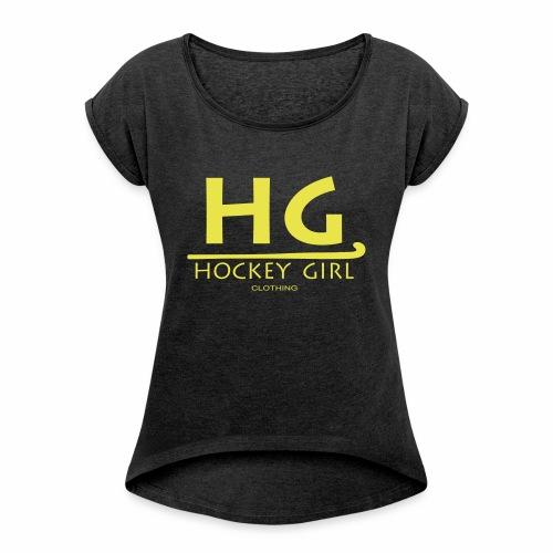 HG logo 3 THIS ONE FINAL - Women's Roll Cuff T-Shirt