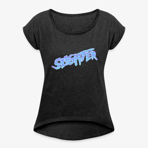 Retro Logo Glitch 2 - Women's Roll Cuff T-Shirt