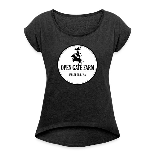Open Gate Farm • The White Logo - Women's Roll Cuff T-Shirt