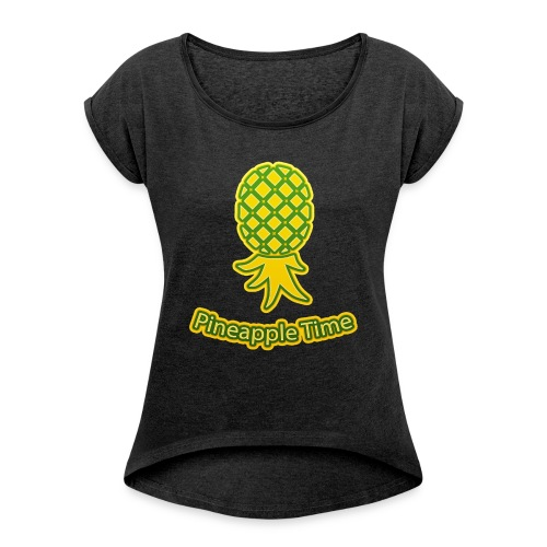 Swingers - Pineapple Time - Transparent Background - Women's Roll Cuff T-Shirt