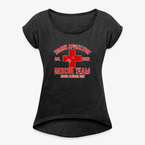 Zombie Help Team - Women's Roll Cuff T-Shirt