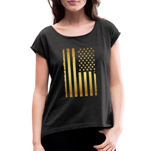 Golden american flag - Women's Roll Cuff T-Shirt