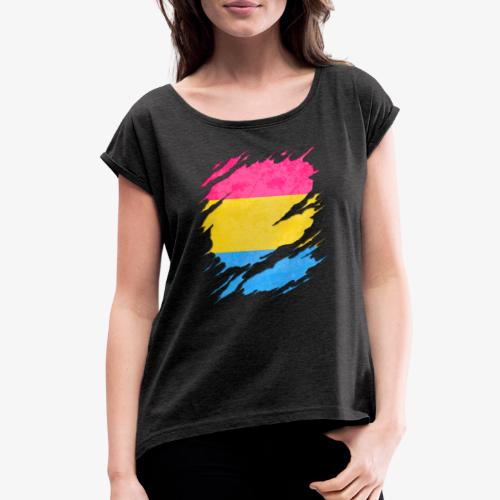 Pansexual Pride Flag Ripped Reveal - Women's Roll Cuff T-Shirt