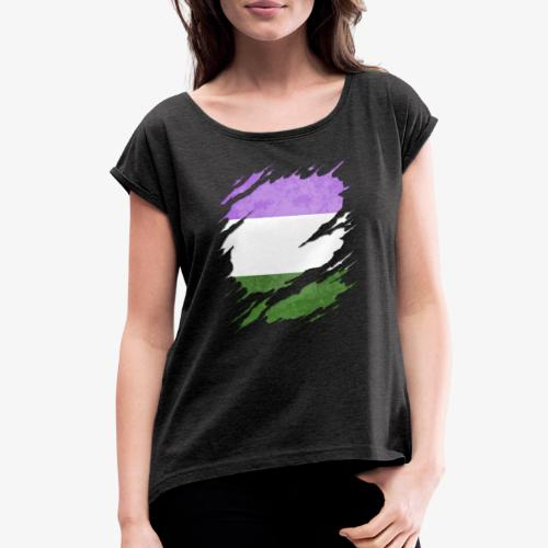 Genderqueer Pride Flag Ripped Reveal - Women's Roll Cuff T-Shirt