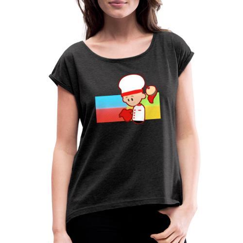 Muffin Fight - Red Shirt - Women's Roll Cuff T-Shirt