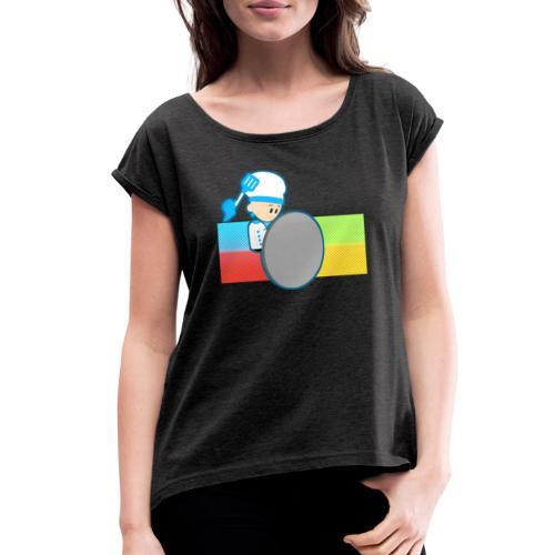 Muffin Fight - Blue Shirt - Women's Roll Cuff T-Shirt