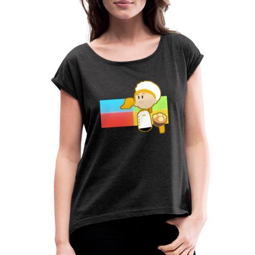 Muffin Fight - Yellow Shirt - Women's Roll Cuff T-Shirt