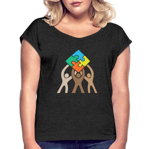 Teamwork and Unity Jigsaw Puzzle Logo - Women's Roll Cuff T-Shirt
