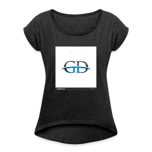 stock vector gd initial company blue swoosh logo 3 - Women's Roll Cuff T-Shirt