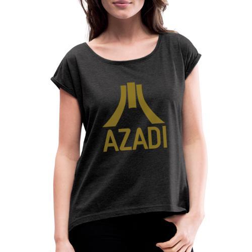 Azadi retro stripes - Women's Roll Cuff T-Shirt