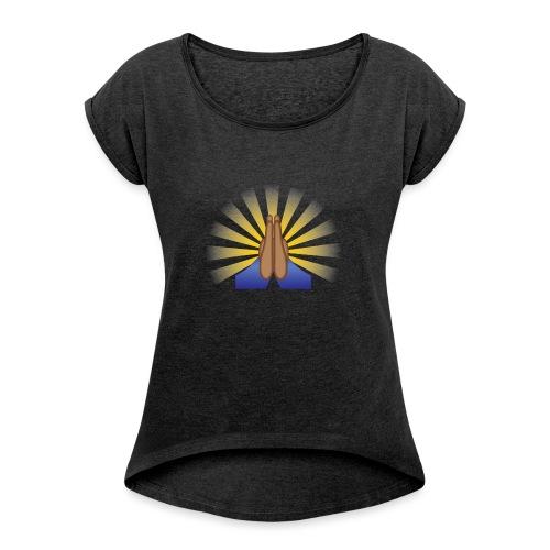 Prayer Hands (Brown) - Women's Roll Cuff T-Shirt
