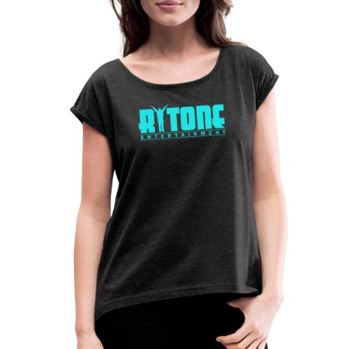 Rytone Logo Cyan - Women's Roll Cuff T-Shirt