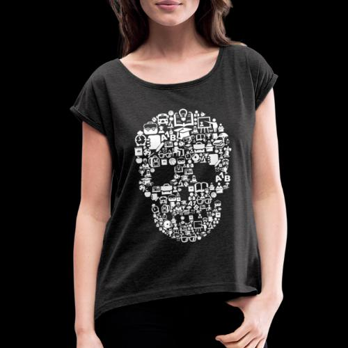 Getting Schooled Skull - Women's Roll Cuff T-Shirt