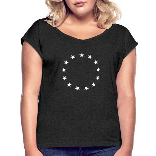 13 Stars Patriotic Circle - Women's Roll Cuff T-Shirt