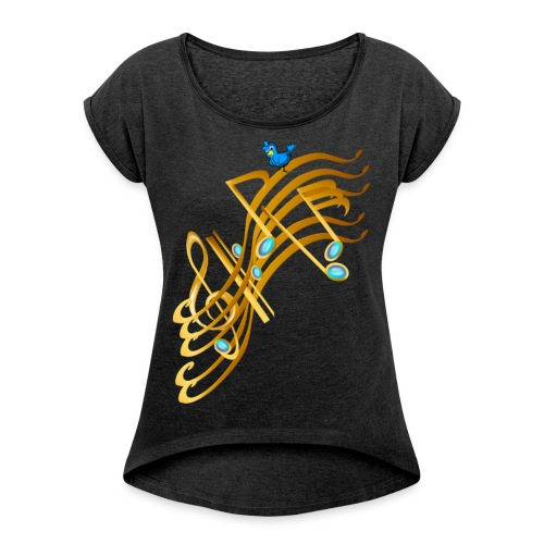 Golden Notes - Women's Roll Cuff T-Shirt