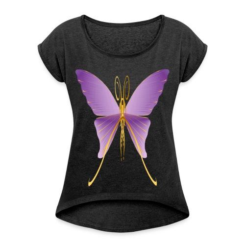 One Big Purple Butterfly - Women's Roll Cuff T-Shirt