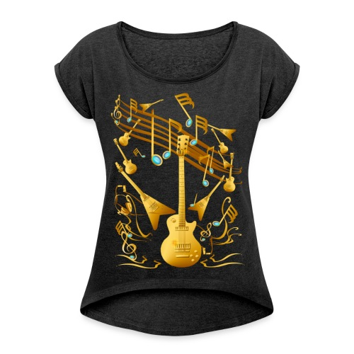 Gold Guitar Party - Women's Roll Cuff T-Shirt