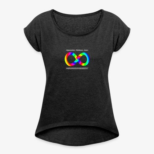 Embrace Neurodiversity with Swirl Rainbow - Women's Roll Cuff T-Shirt