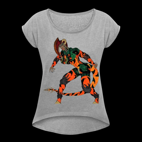 Saurosapien-ARC of IACF - Women's Roll Cuff T-Shirt