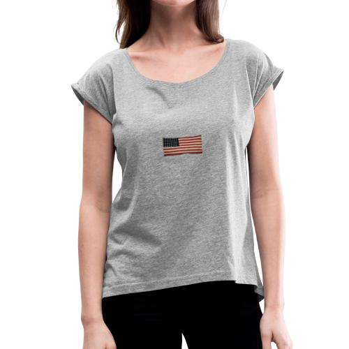 WWII Era Garrison Flag - Women's Roll Cuff T-Shirt