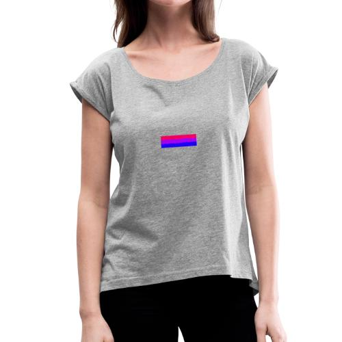 Bisexual Flag - Women's Roll Cuff T-Shirt