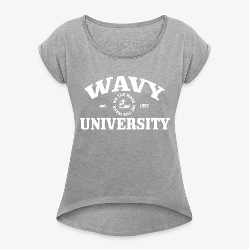Wavy U (White) - Women's Roll Cuff T-Shirt